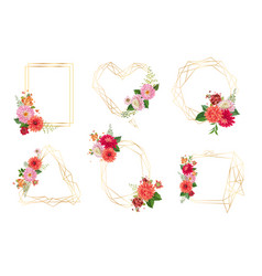 watercolor floral frames for wedding invitation vector image