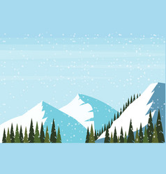 winter snowy mountain hill fir tree forest vector image
