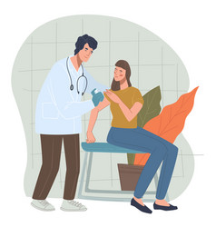 Woman in hospital or clinics getting vaccinated vector