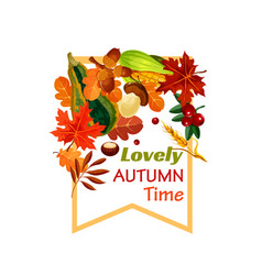 autumn lovely fall time poster vector image vector image