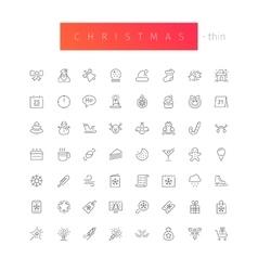 Christmas Thin Icons Set vector image