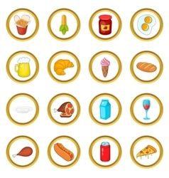 Food set cartoon style vector image