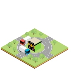 Isometric truckers cafe vector image vector image