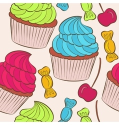 background with of cake seamless pattern vector image vector image