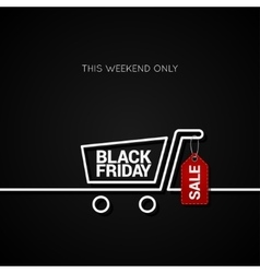 Black Friday sale tag and shopping background vector image