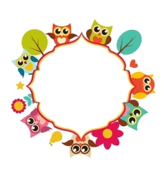 Cute Owl Frame Background vector image
