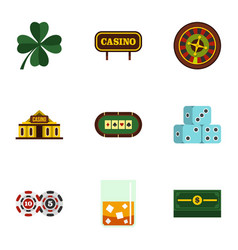 fortune gambling icons set flat style vector image vector image