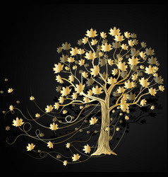 gold maple tree vector image