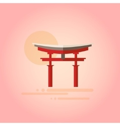 Japanese Pagoda in Flat Design vector image