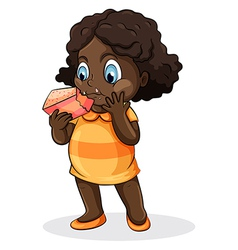 A fat Black lady eating a cake vector image
