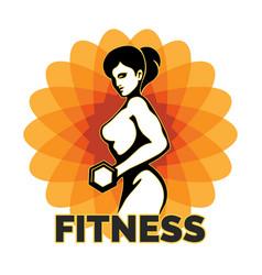 fitness club creative emblem vector image vector image
