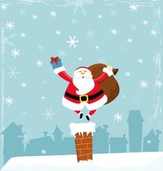 Santa On Chimney vector image vector image