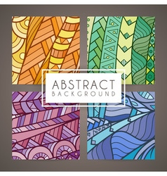 Set of four colorful intricate patterns doodle vector