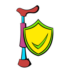 crutch and shield with tick icon cartoon vector image vector image