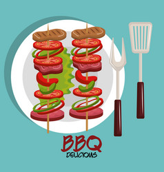 meat stick delicious bbq food vector image