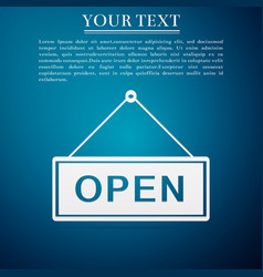 open door sign flat icon on blue background vector image
