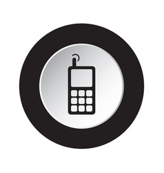 Round black white button - old mobile phone vector