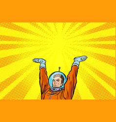 template astronaut holding something on his hands vector image