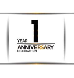 1 year anniversary black color simple design vector