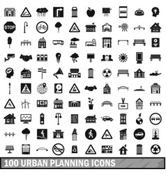 100 urban planning icons set simple style vector image