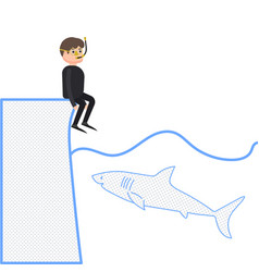 A shark wants to eat a man a diver sits on the vector