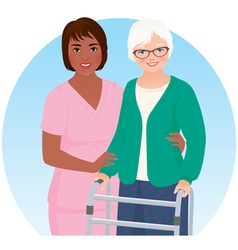 African American nurse and her patient vector image