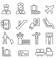 airport and aviation line icons vector image