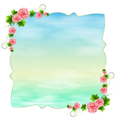 An empty blue template with carnation pink flowers vector image