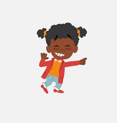 Black girl pointing to something funny on his left vector