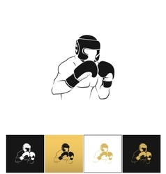 Boxer silhouette or boxing combat icon vector