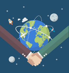 business people shaking hands on globe vector image
