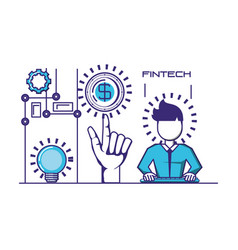 Businessman avatar with financial technology icons vector