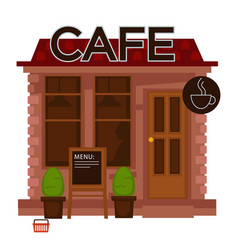 Cafe facade exterior flat design isolated vector