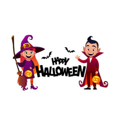 cartoon children witch and vampire costume happy vector image