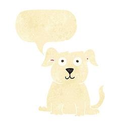 cartoon happy dog with speech bubble vector image