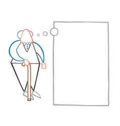cartoon old man standing with wooden walking vector image