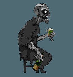Cartoon scary zombie sitting on a chair with a vector
