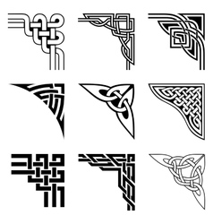 celtic corners set vector image