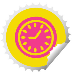 circular peeling sticker cartoon wall clock vector image