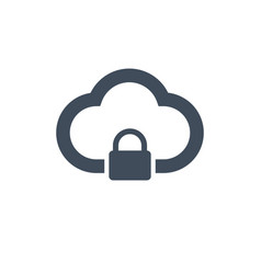 Cloud computing lock icon isolated on clean vector