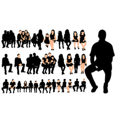 collection silhouettes people sitting vector image