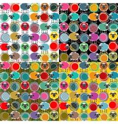 Colorful Seamless Sheep and Yarn Balls Pattern vector