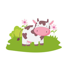 cow flowers grass farm animal cartoon isolated vector image