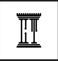 Ct logo monogram with pillar shape design template vector