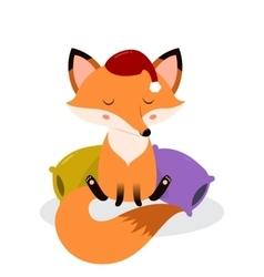 Cute cartoon sleepy fox on the pillows vector image