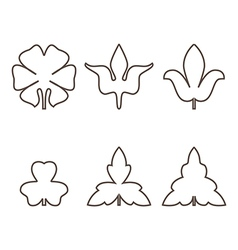 Decorative outline leaves icons set isolated black vector image