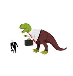 dinosaur boss screaming at subordinate angry dino vector image