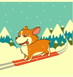 Dog skiing on winter mountains background vector