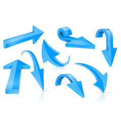 down and up 3d arrows blue signs with reflection vector image