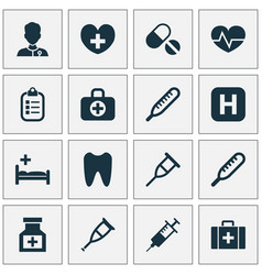 Drug icons set collection of ache heal claw and vector